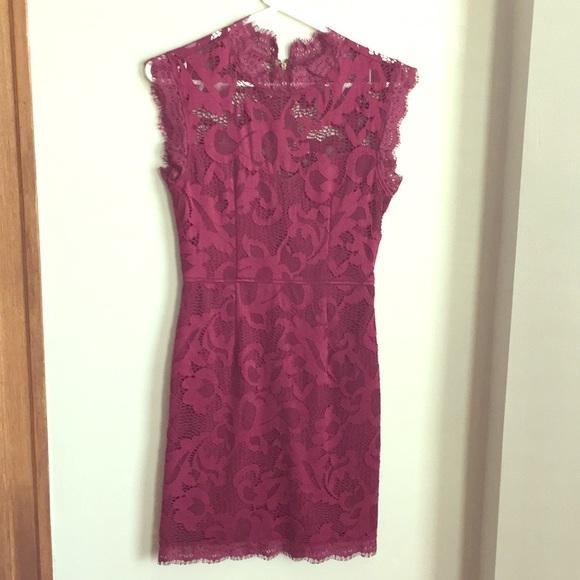 59a6b2688b5f2 Dresses | Maroon Lace Overlay Mini Dress By Tj Maxx | Poshmark